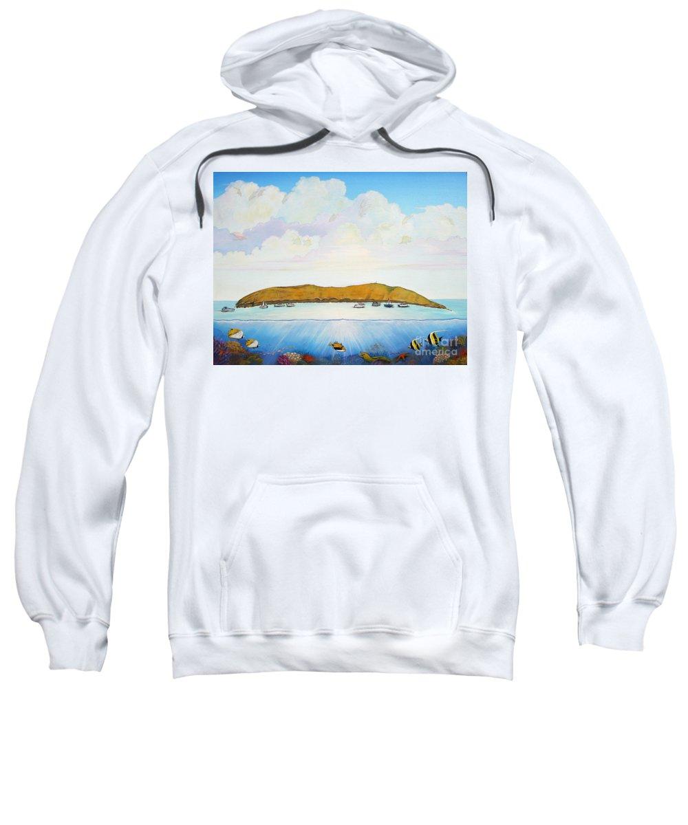 Molokini Sweatshirt featuring the painting Maui Molokini Magic by Jerome Stumphauzer