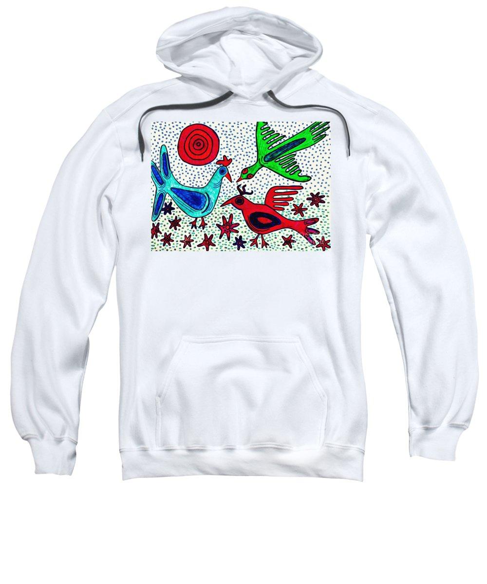 Bird Sweatshirt featuring the drawing Mayan Birds by Sarah Loft