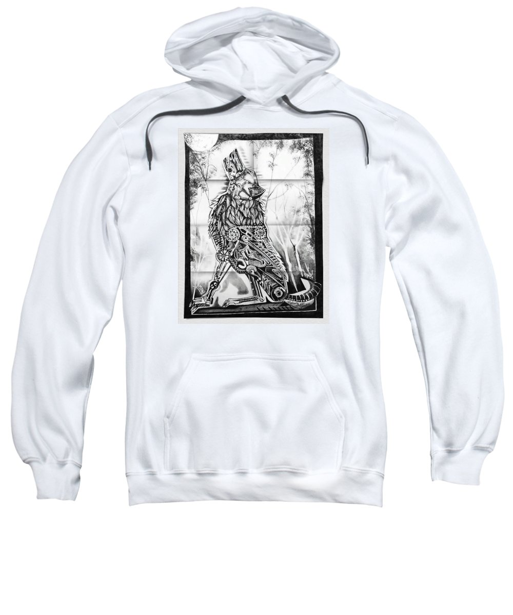 Mechanism Wolf Is Done In Pen And Ink. Sweatshirt featuring the drawing Mechanical Wolf by Melissa Young
