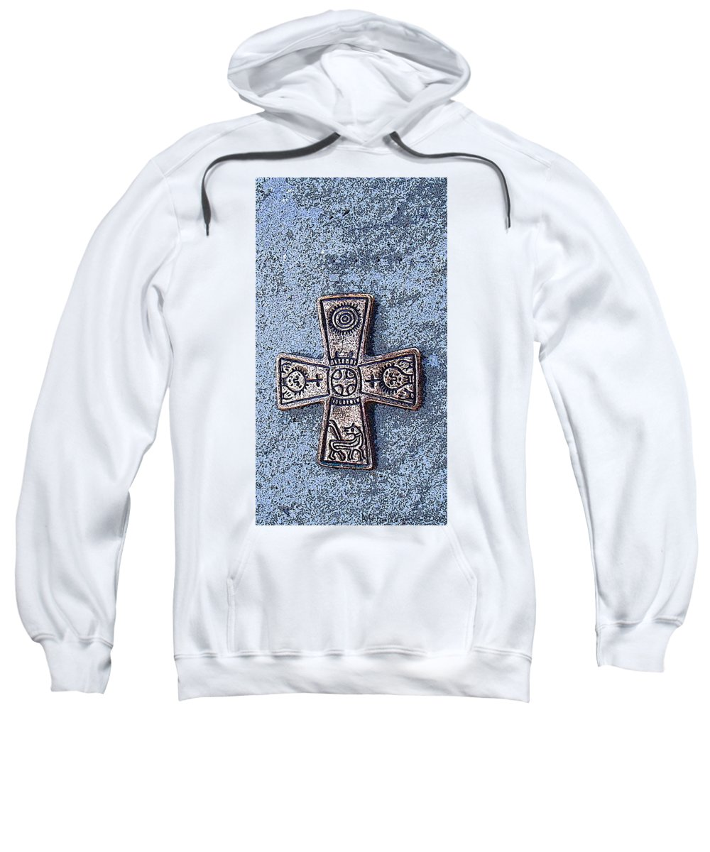 Cross Sweatshirt featuring the photograph Medieval Nordic Cross by Merja Waters