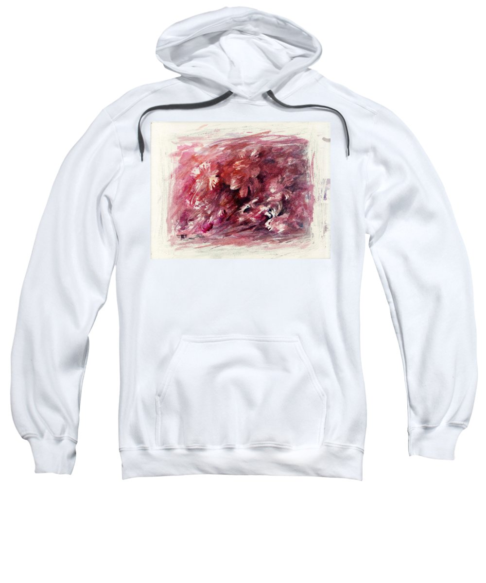 Floral Sweatshirt featuring the painting Melancholic Moment by Rachel Christine Nowicki