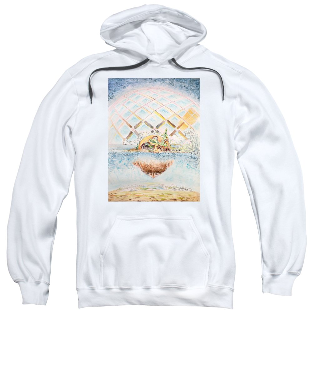 Watercolor Sweatshirt featuring the painting Meme Brain by Dave Martsolf