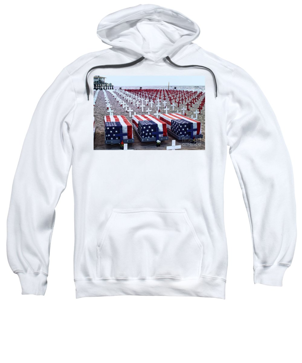 Memorial Day Sweatshirt featuring the photograph Memorial Day Remembrance At The Beach by Mariola Bitner