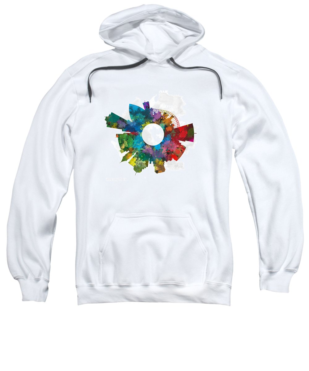 Map Sweatshirt featuring the digital art Memphis Small World Cityscape Skyline Abstract by Jurq Studio