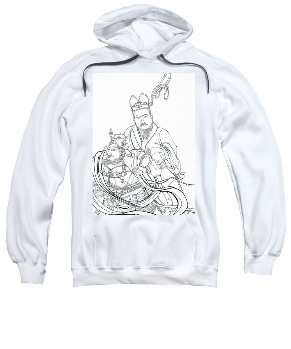 Drawing Sweatshirt featuring the drawing Men Of The East by Michelle Calkins