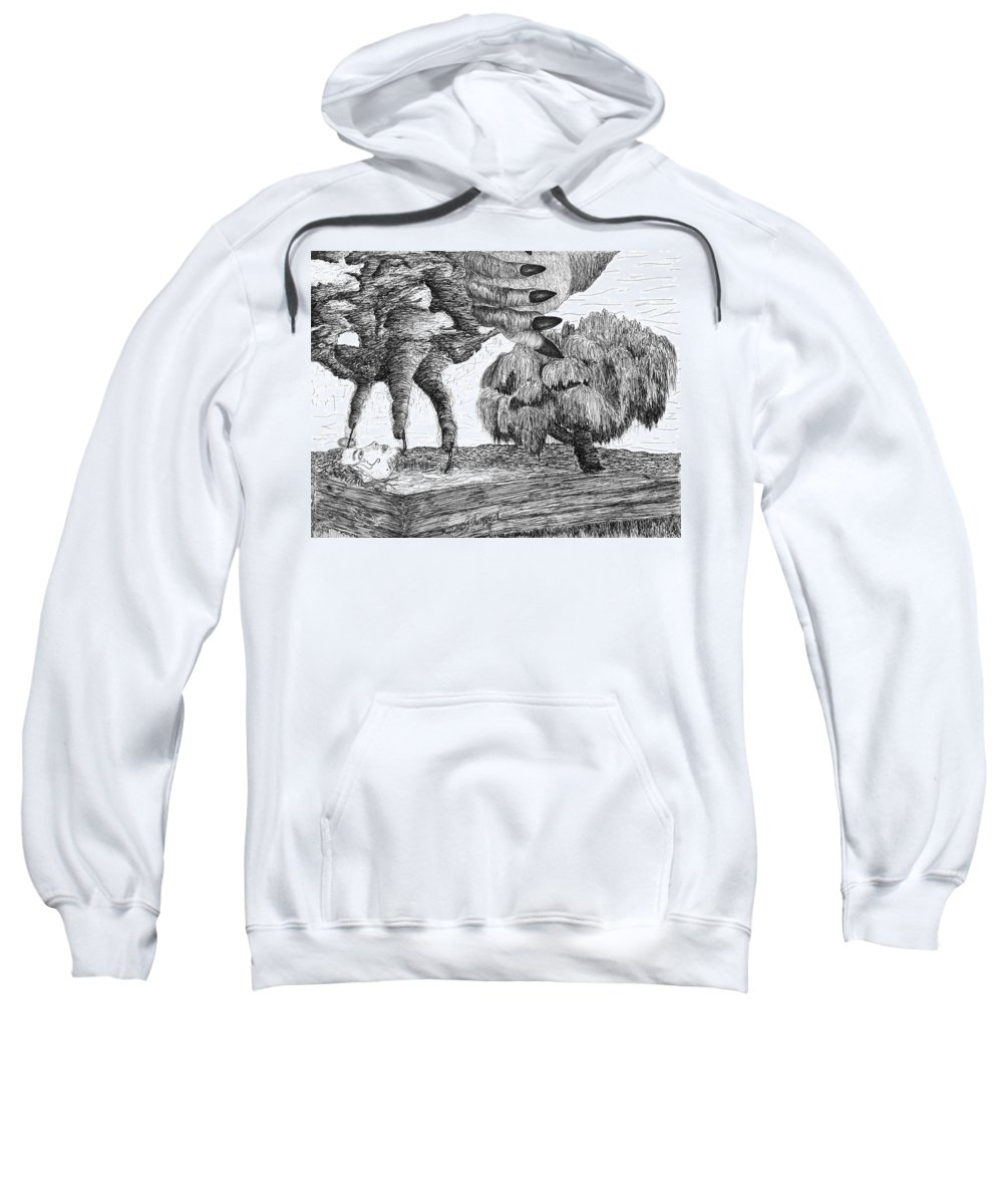Hands Sweatshirt featuring the drawing Mental Maelstrom by Truman Sacco