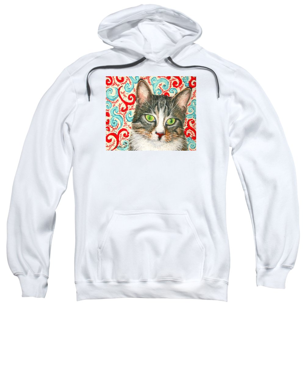 Cat Sweatshirt featuring the painting Meow Please... by Minaz Jantz