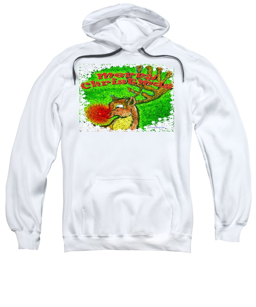 Merry Christmas Sweatshirt featuring the greeting card Merry Christmas Reindeer by Kevin Middleton