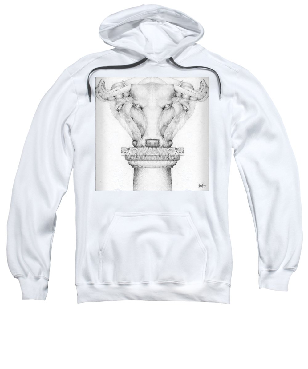 Bull Sweatshirt featuring the drawing Mesopotamian Capital by Curtiss Shaffer