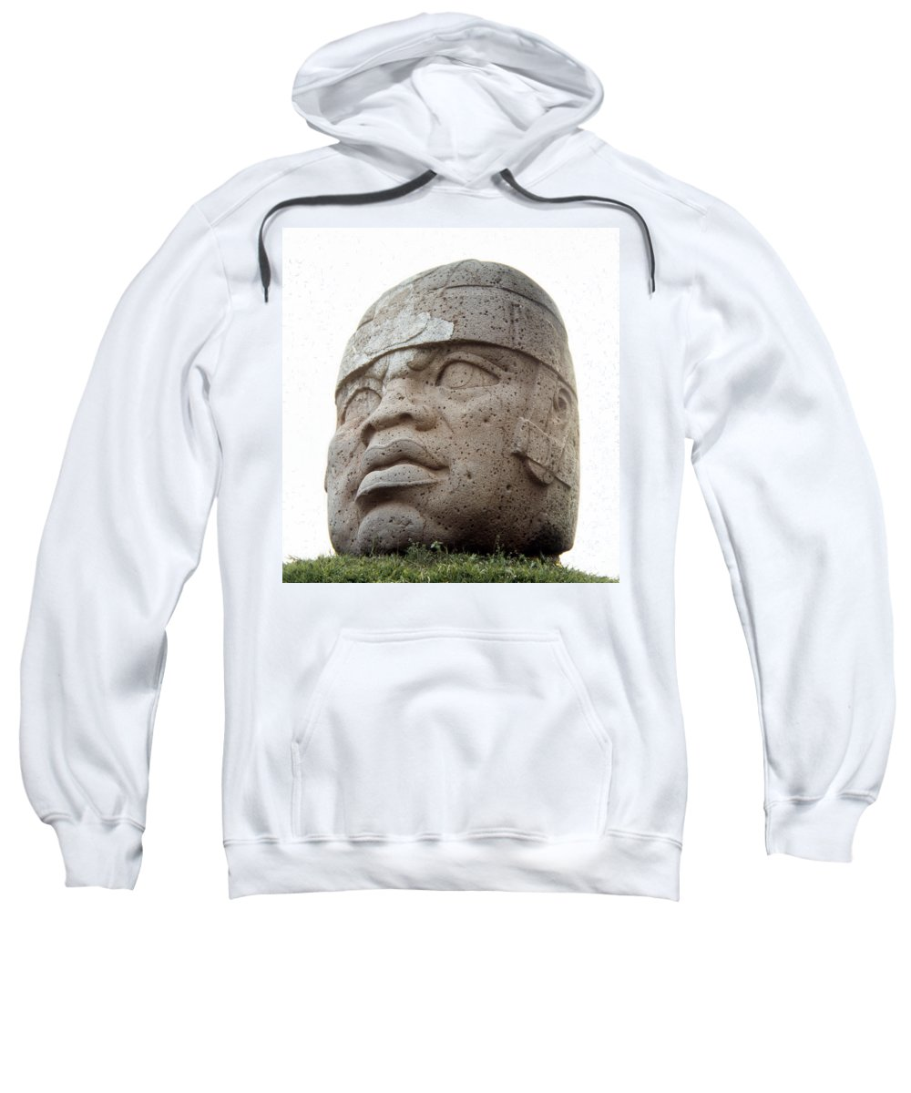 10th Century B.c Sweatshirt featuring the photograph Mexico: Olmec Head by Granger