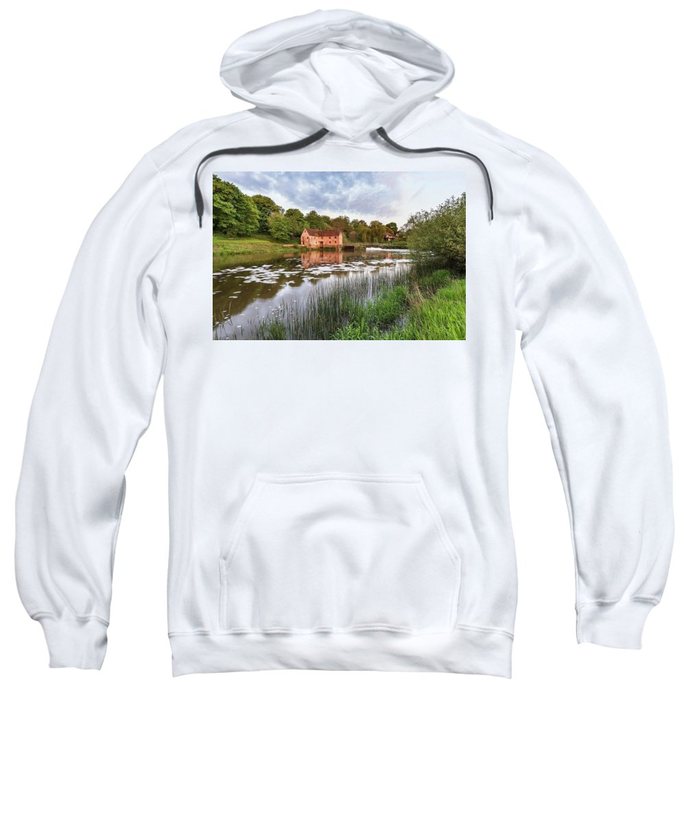Landscape Sweatshirt featuring the photograph Early Morning View Across River Stour To Sturminster Newton Mill In Dorset. by Matthew Gibson