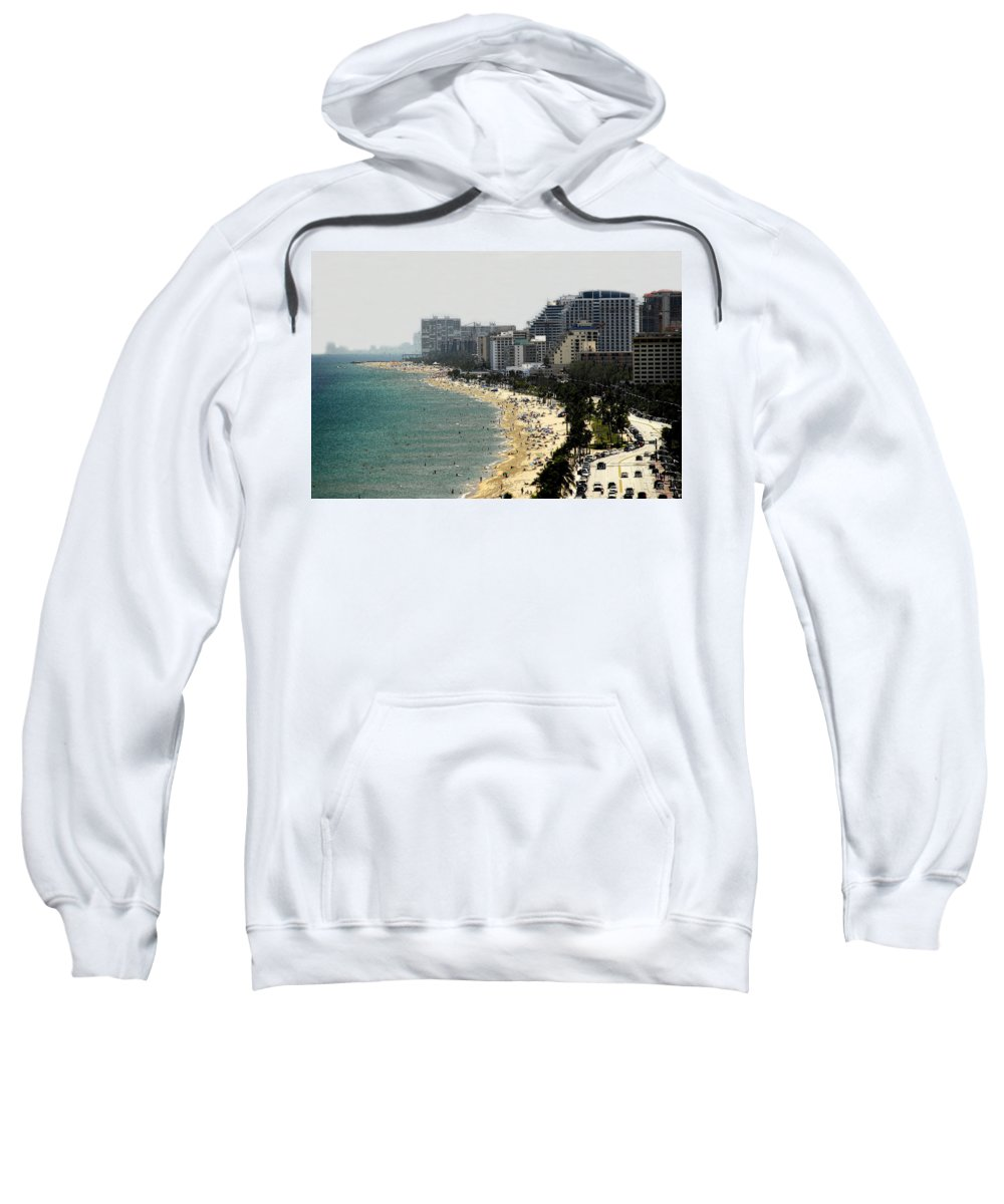 Miami Beach Florida Sweatshirt featuring the painting Miami Beach Fla by David Lee Thompson