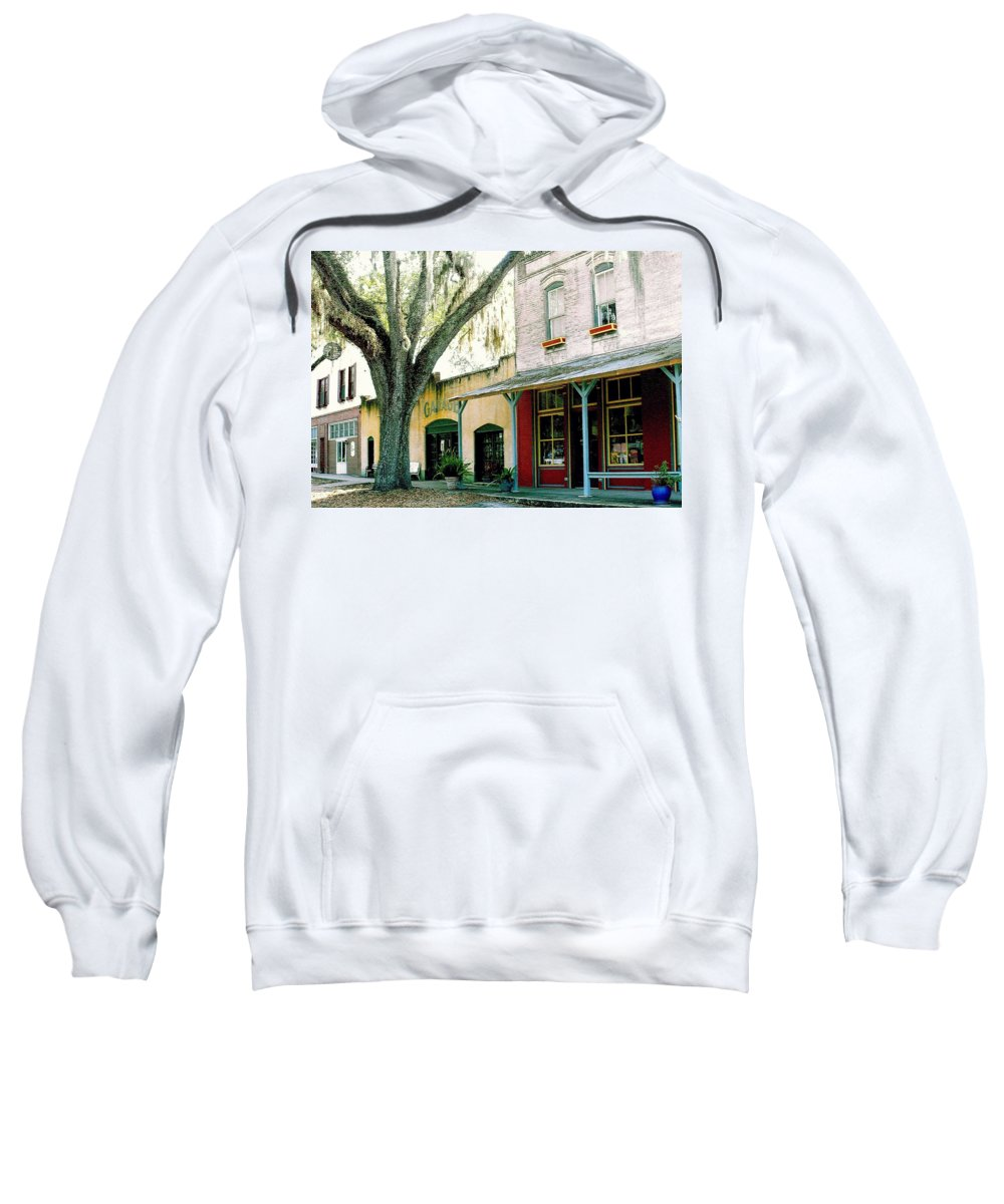 Micanopy Sweatshirt featuring the photograph Micanopy Storefronts by Nelson Strong