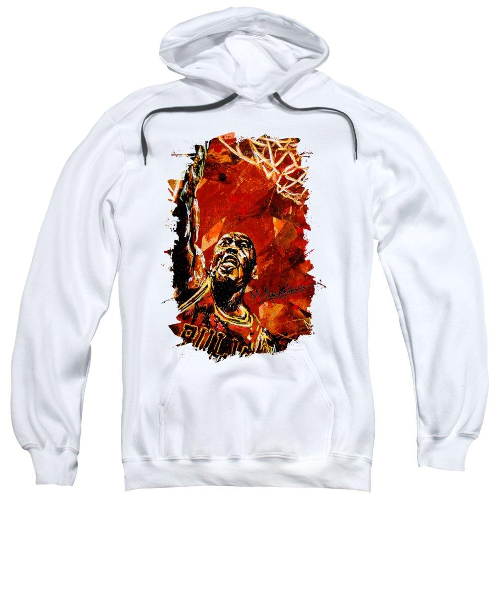 Michael Jordan Sweatshirt featuring the painting Michael Jordan by Maria Arango