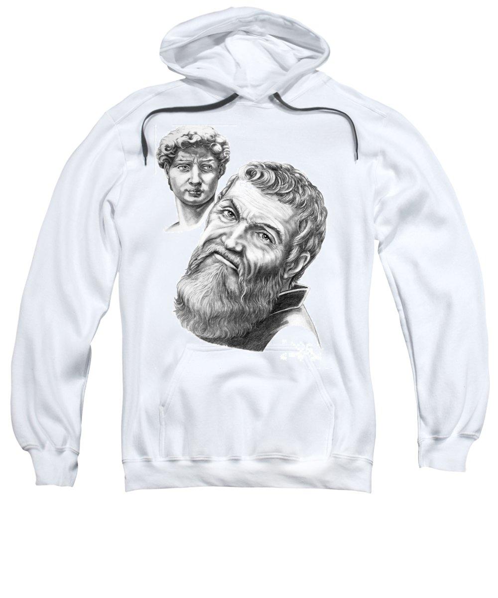 Michelangelo Sweatshirt featuring the drawing Michelangelo And David by Murphy Elliott