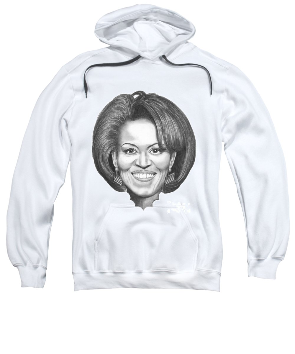 Drawing Sweatshirt featuring the drawing Michelle Obama by Murphy Elliott