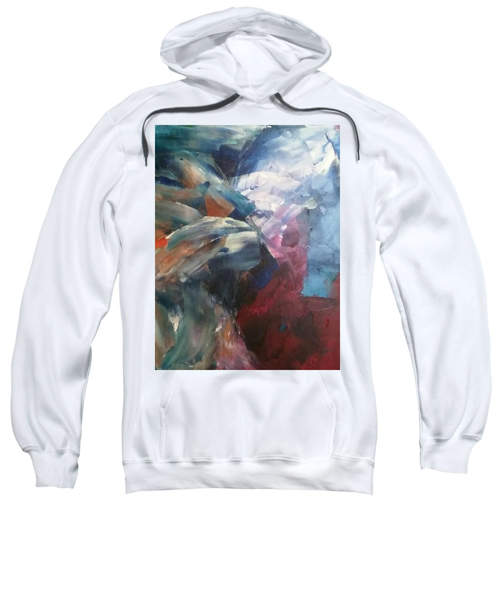 Abstract Sweatshirt featuring the painting Mid Night Waves by Octavio Mora