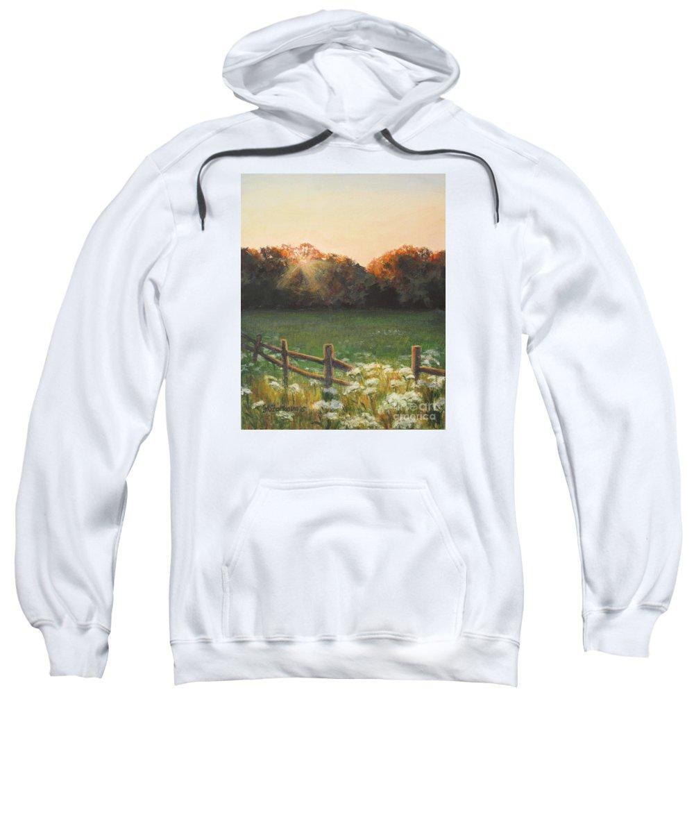 Sunset Sweatshirt featuring the painting Mid-summer Sunset by Anna Starkova