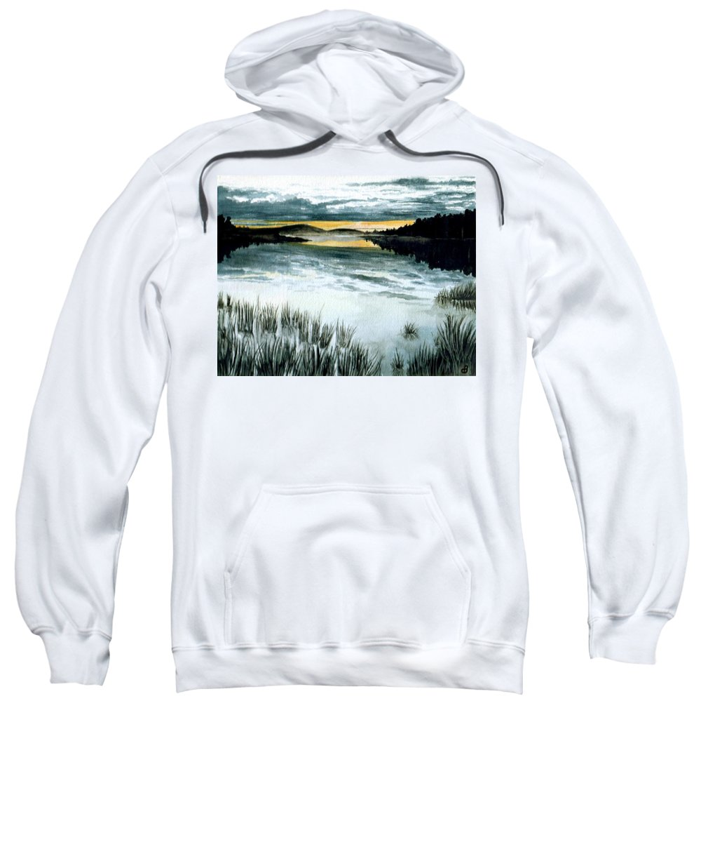 Watercolor Sweatshirt featuring the painting Midnight Sun by Brenda Owen