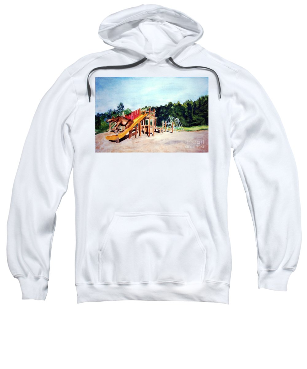 Moose Sweatshirt featuring the painting Mildred Goes Down The Slide by Stella Sherman