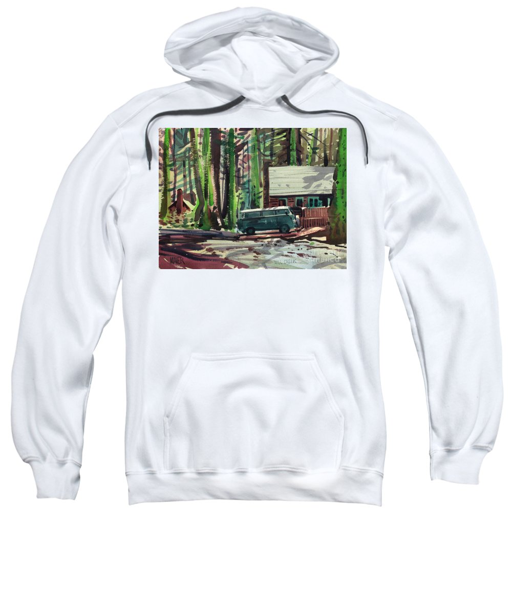 Mill Creek Sweatshirt featuring the painting Mill Creek Camp by Donald Maier