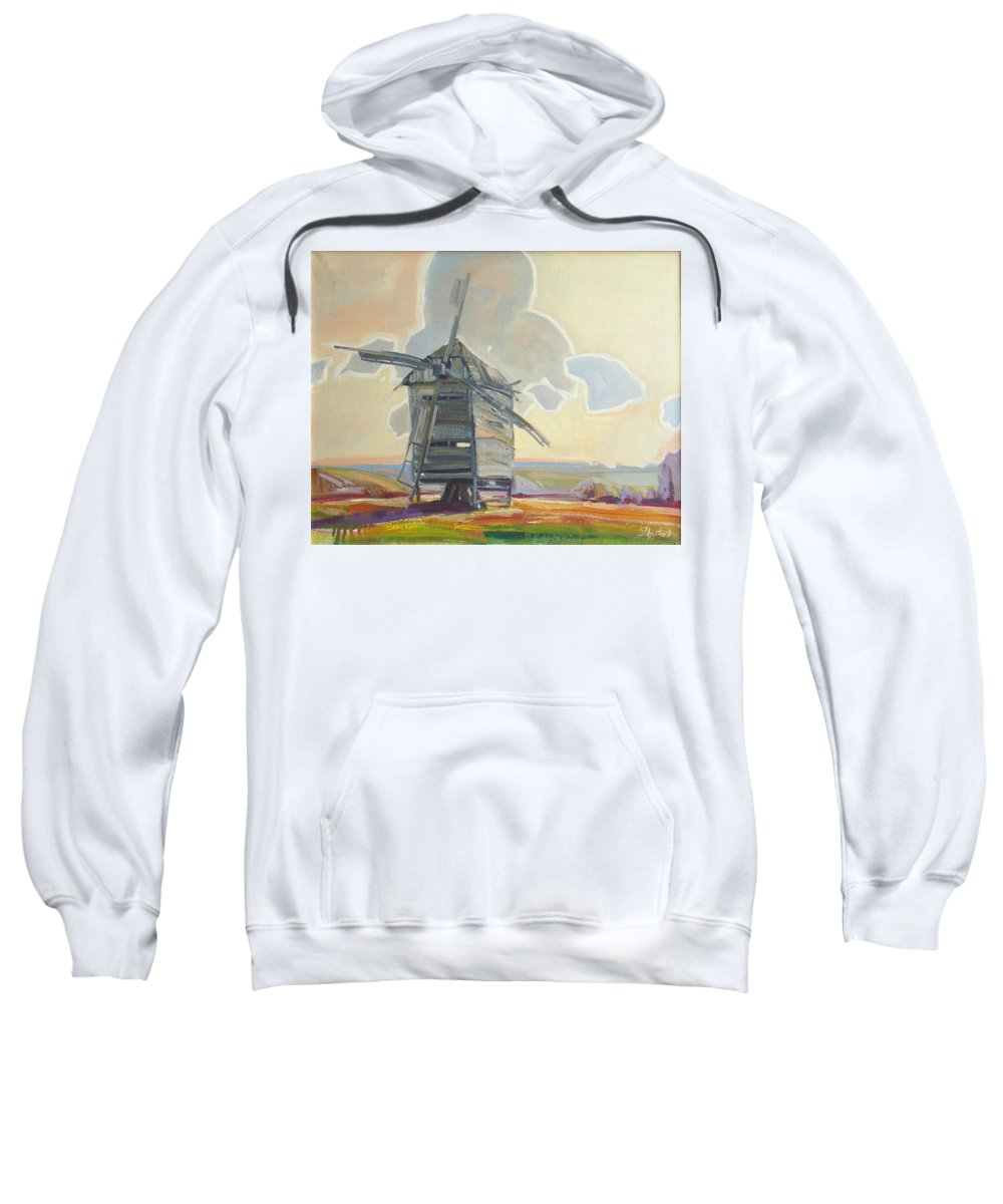 Oil Sweatshirt featuring the painting Mill by Sergey Ignatenko