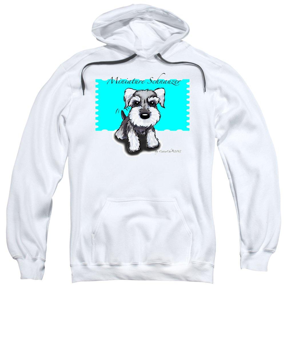 Miniature Sweatshirt featuring the mixed media Miniature Schnauzer by Catia Lee