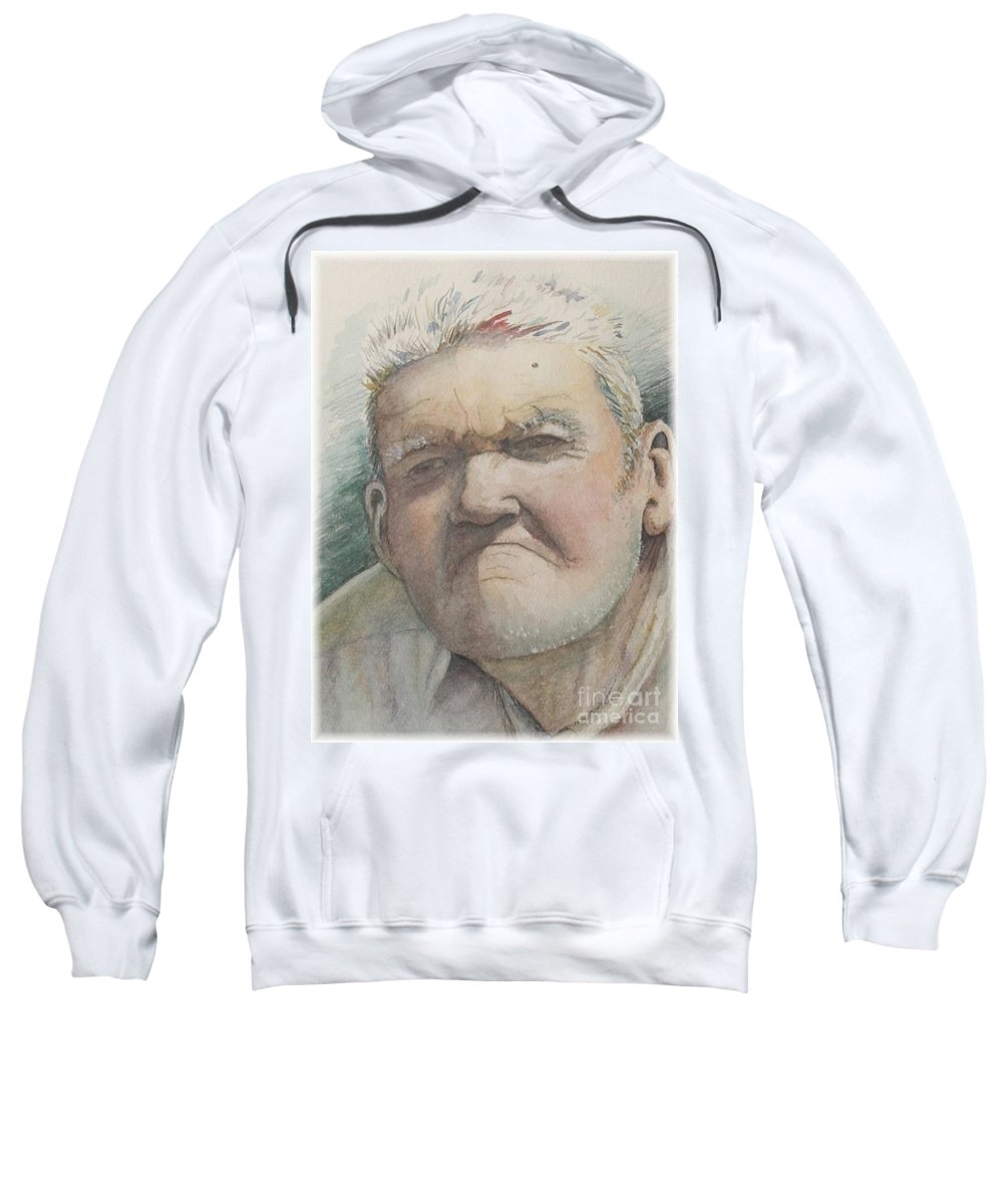 Portrait Sweatshirt featuring the painting Minnesota Farmer by Nadine Rippelmeyer