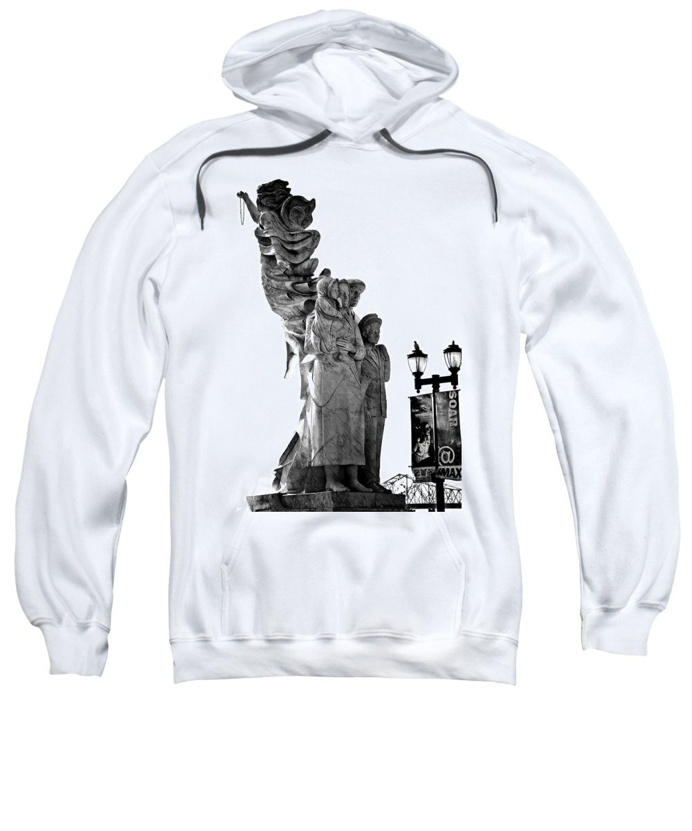 Black And White Sweatshirt featuring the photograph Miss Liberty And The Immigrant Family by Kathleen K Parker