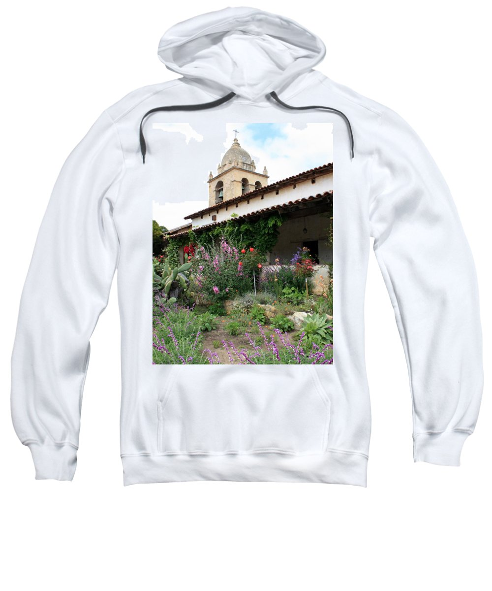 Mission Sweatshirt featuring the photograph Mission Bells And Garden by Carol Groenen