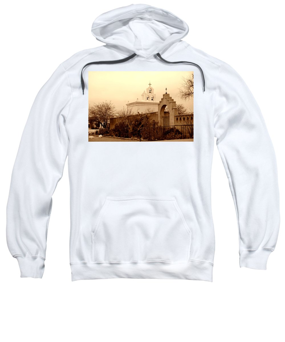 Photography Sweatshirt featuring the photograph Mission San Xavier Chapel by Susanne Van Hulst