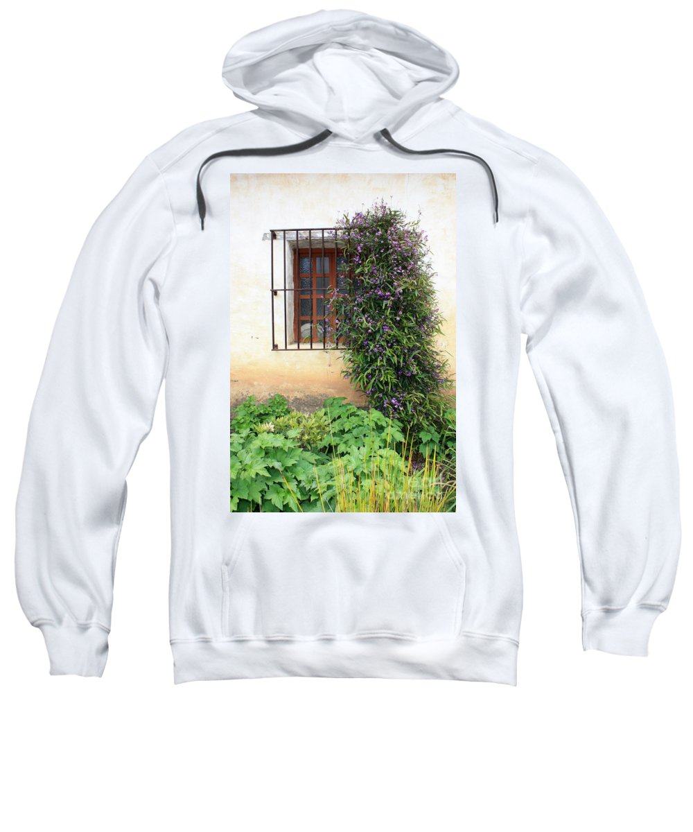 Mission Sweatshirt featuring the photograph Mission Window With Purple Flowers Vertical by Carol Groenen