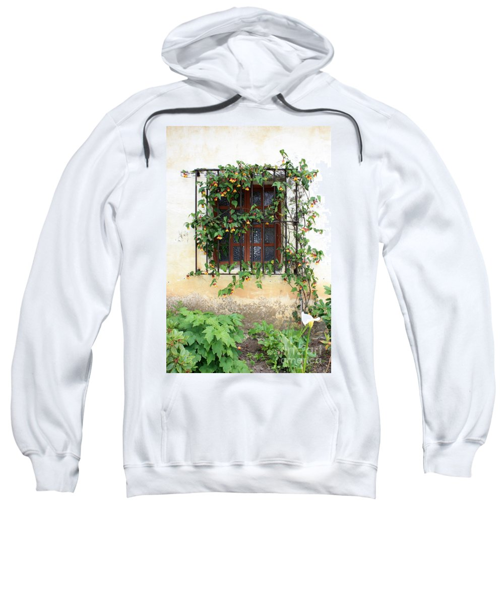 Mission Window Sweatshirt featuring the photograph Mission Window With Yellow Flowers Vertical by Carol Groenen