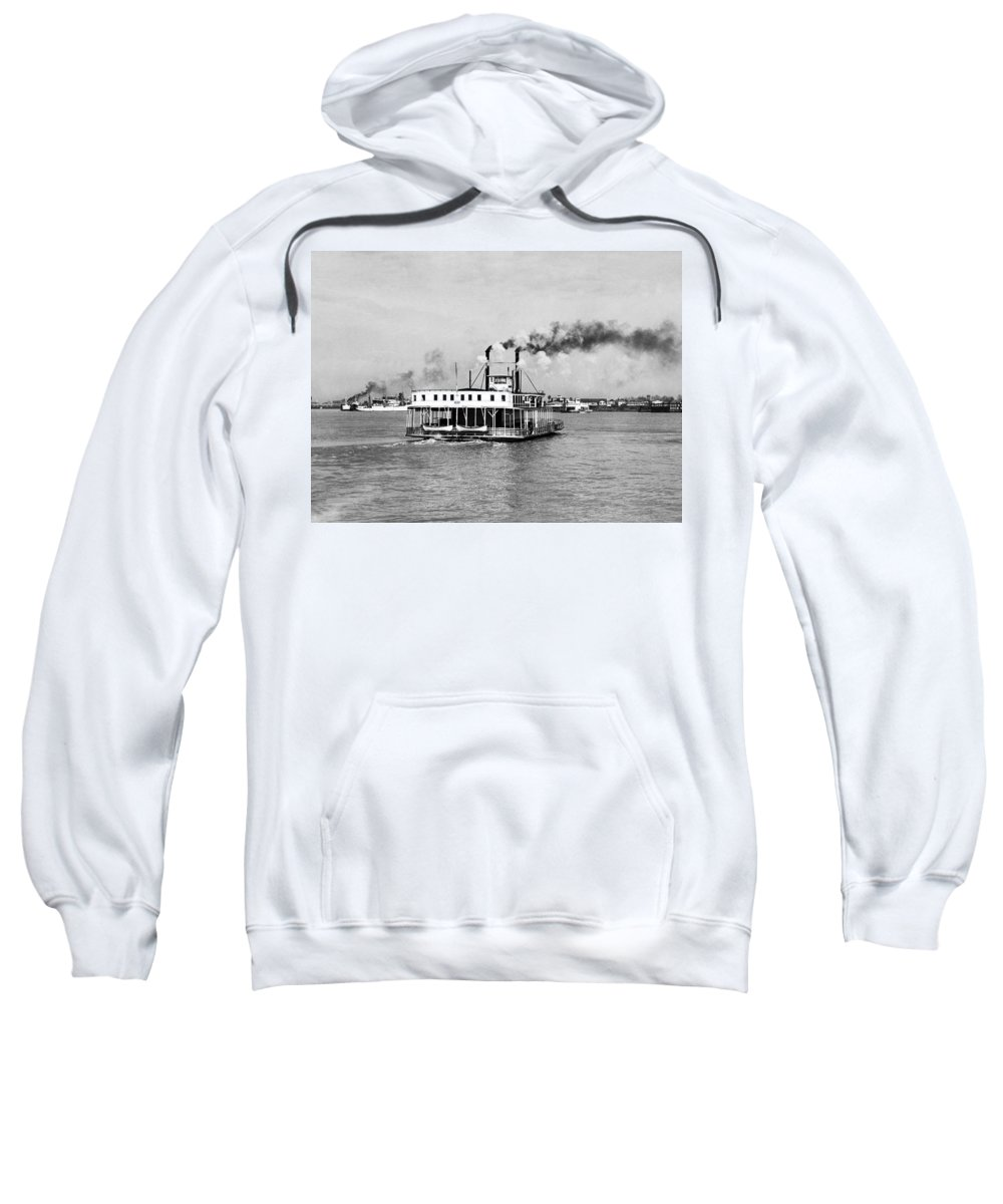 1920s Sweatshirt featuring the photograph Mississippi River Ferry Boat by Underwood Archives