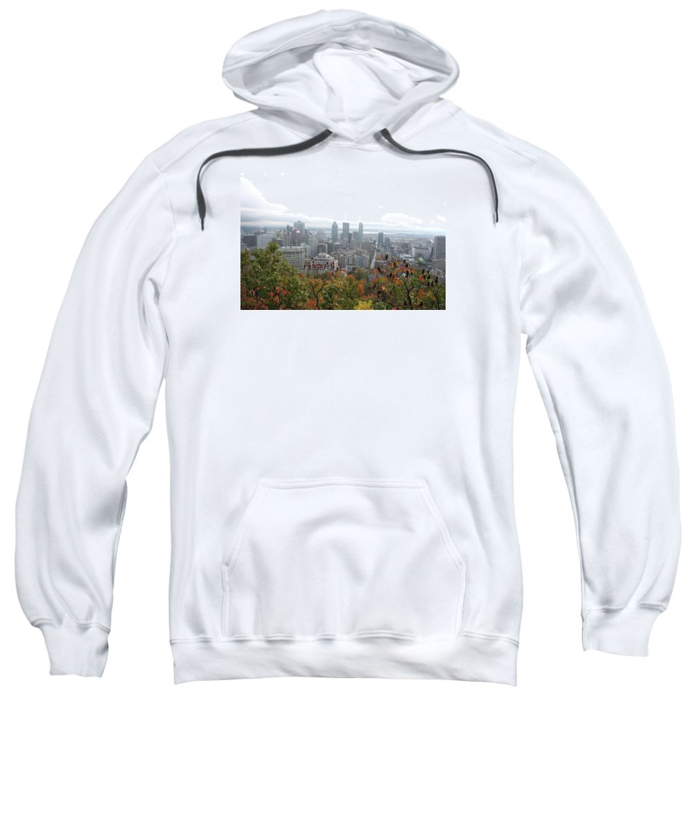 City View Sweatshirt featuring the photograph Mist Over Montreal by Christiane Schulze Art And Photography