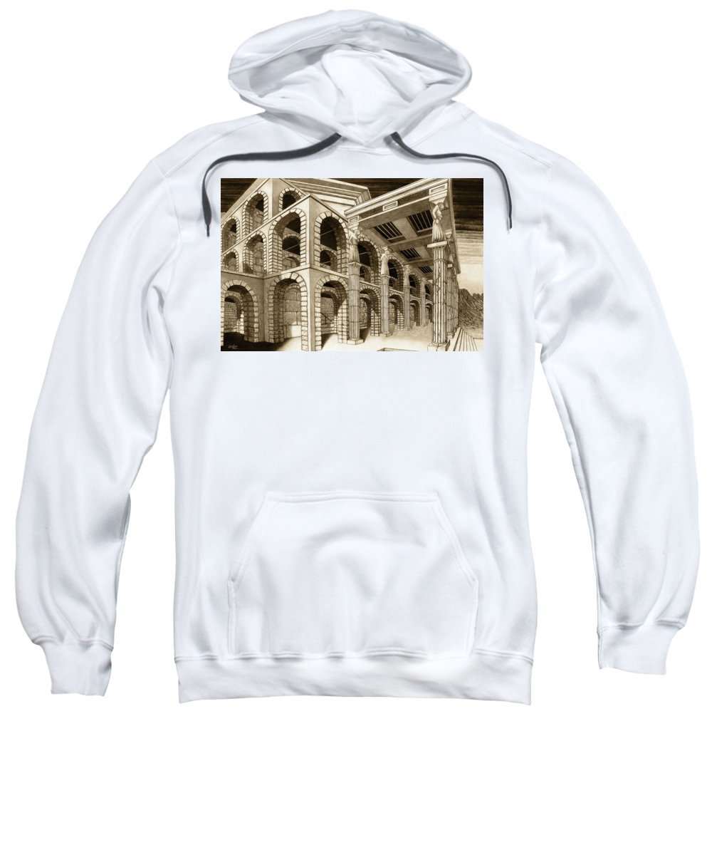 Mithlond Sweatshirt featuring the drawing Mithlond Gray Havens by Curtiss Shaffer