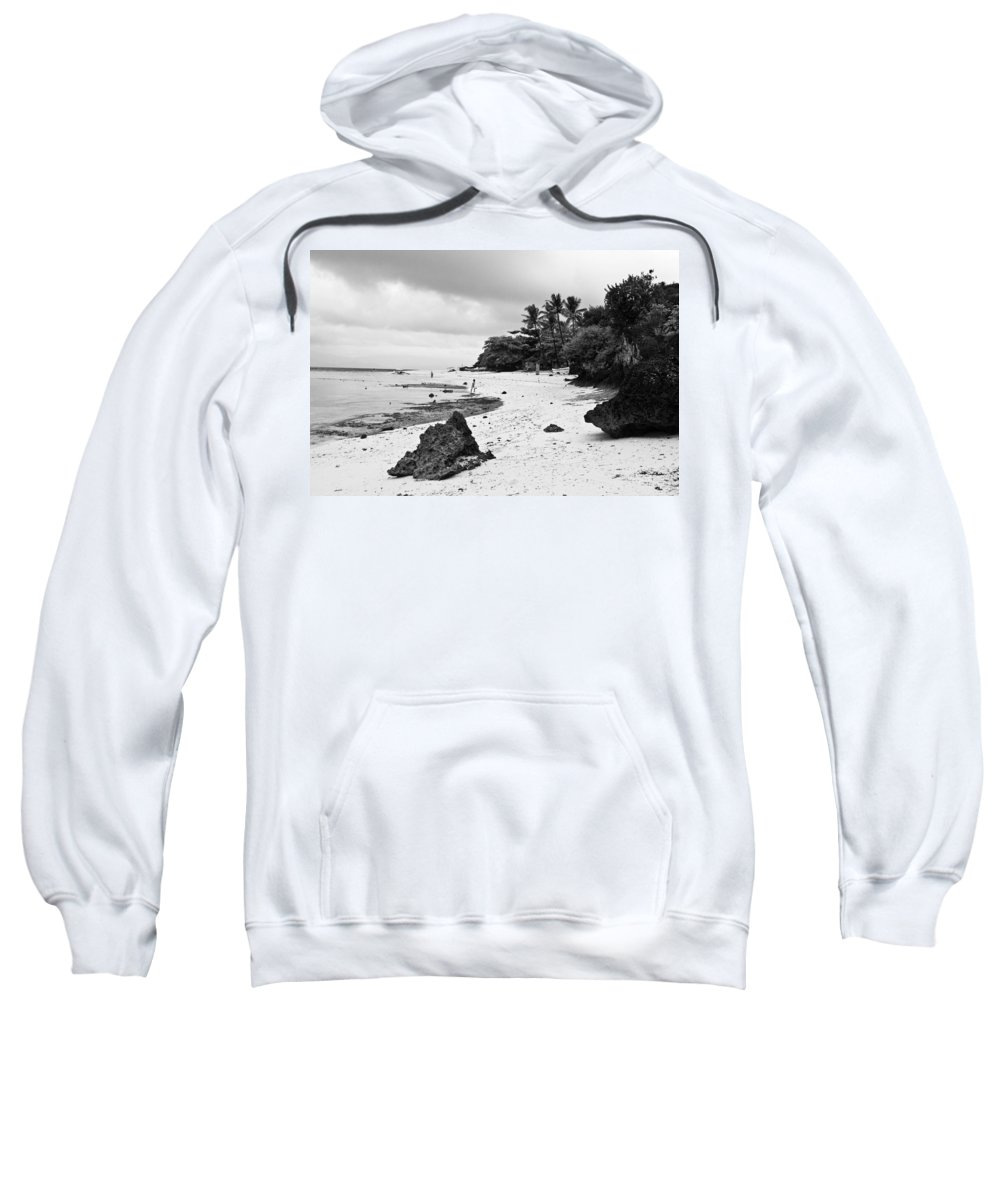 Beach Sweatshirt featuring the photograph Moalboal Cebu White Sand Beach In Black And White by James BO Insogna