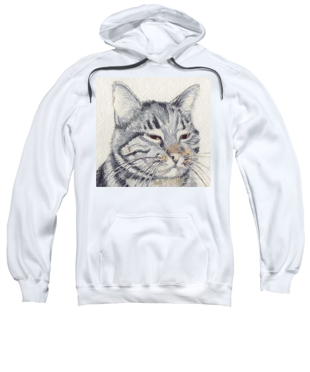 Cat Sweatshirt featuring the mixed media Molly Mischief by Mary Rogers