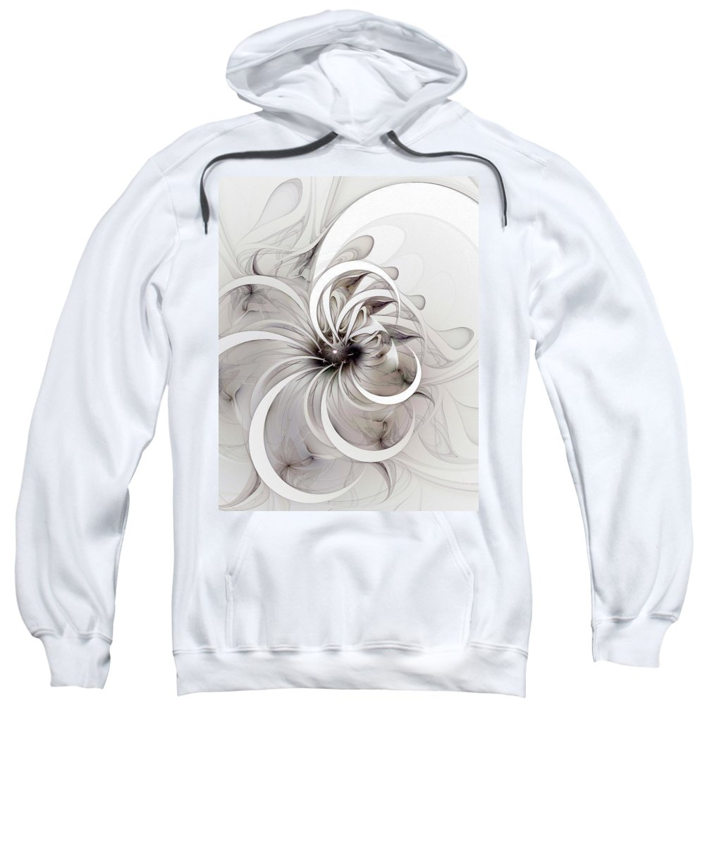Digital Art Sweatshirt featuring the digital art Monochrome flower by Amanda Moore