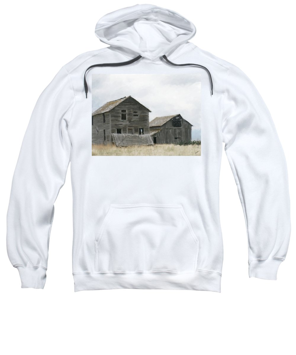 Montana Sweatshirt featuring the painting Montana Past by Susan Kinney