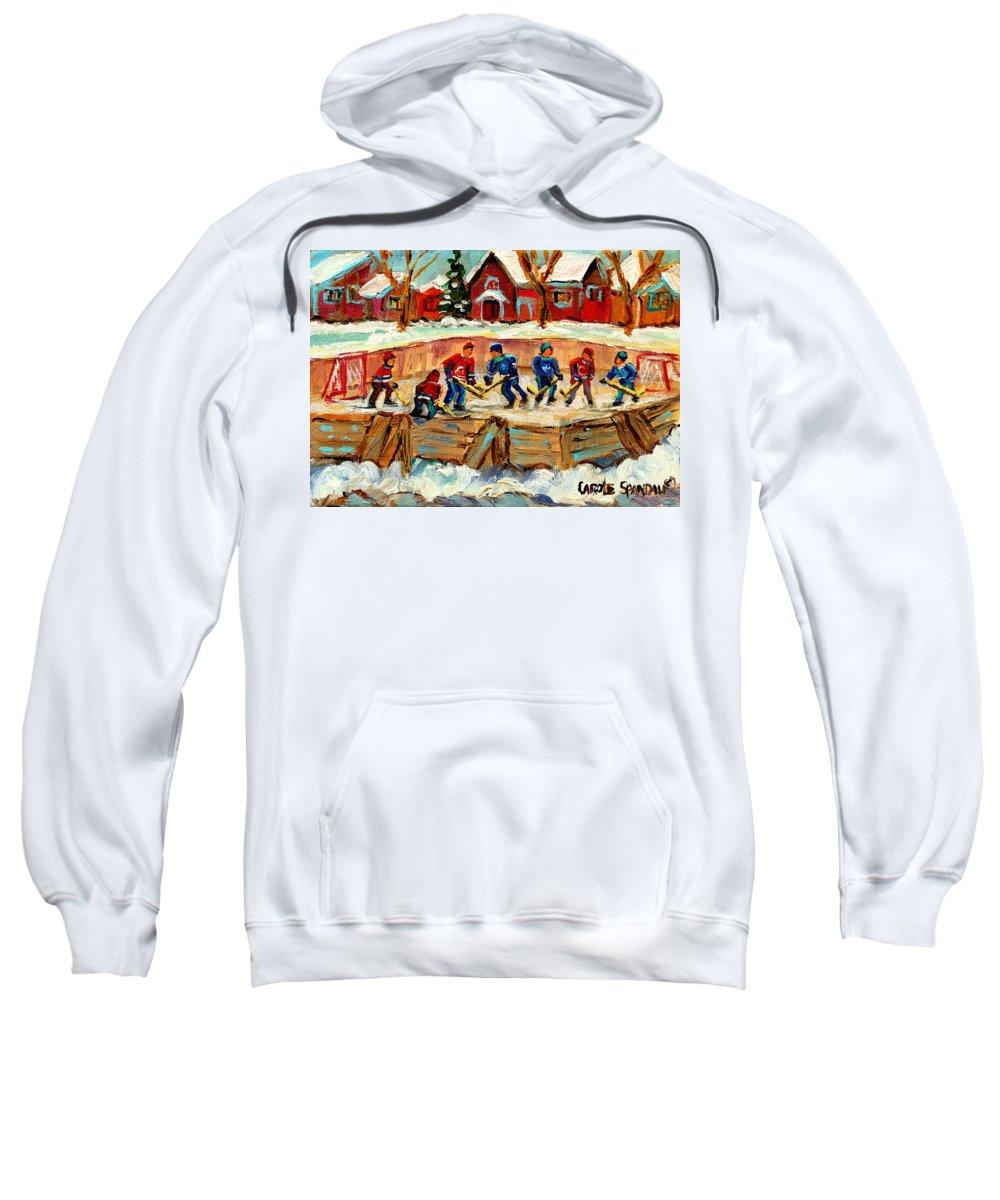 Montreal Sweatshirt featuring the painting Montreal Hockey Rinks Urban Scene by Carole Spandau