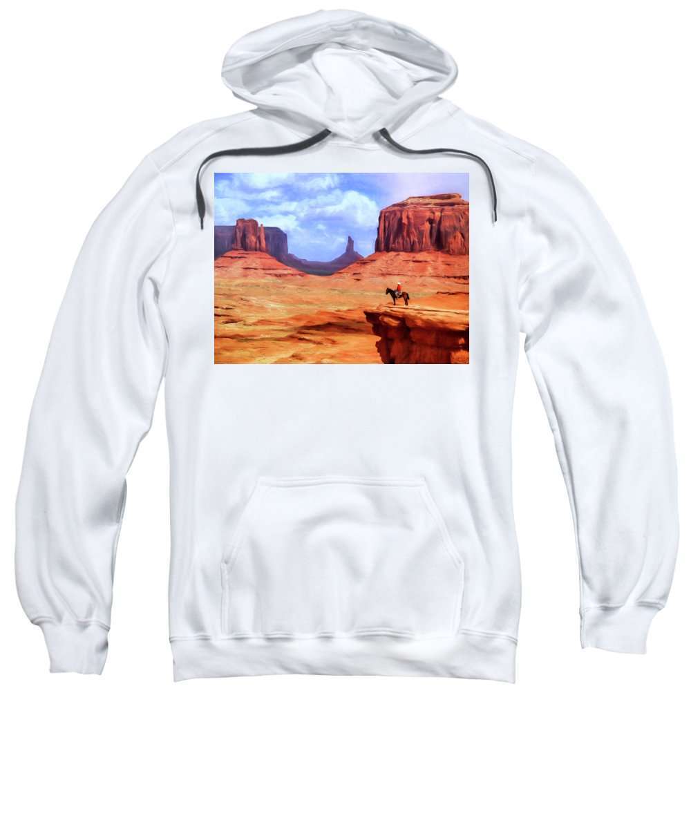 Monument Valley Sweatshirt featuring the painting Monument Valley Overlook by Dominic Piperata