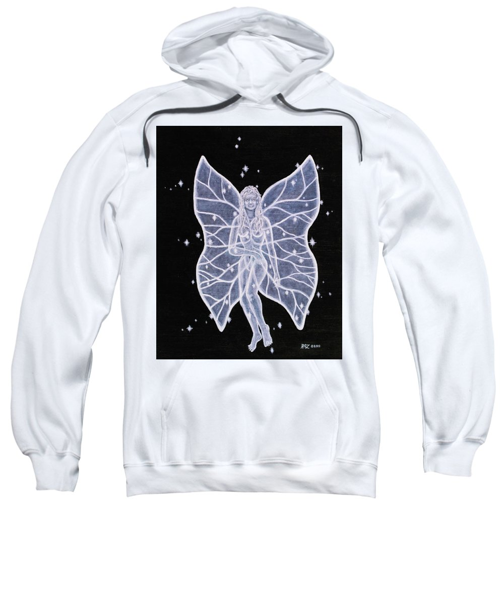 Fairy Sweatshirt featuring the painting Moon Fairy by Roz Eve