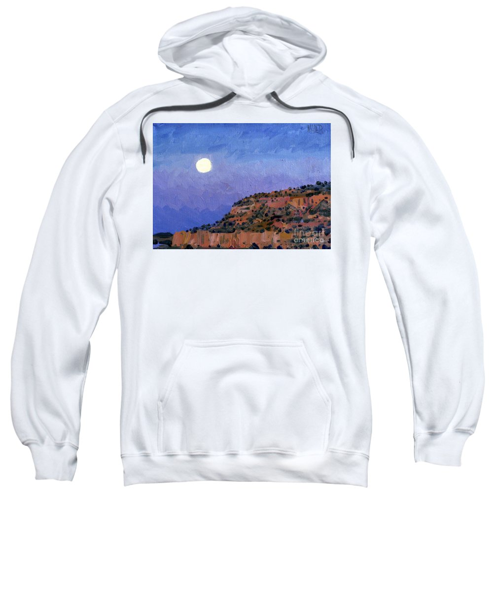 Moonrise Sweatshirt featuring the painting Moonrise Over Gallup by Donald Maier