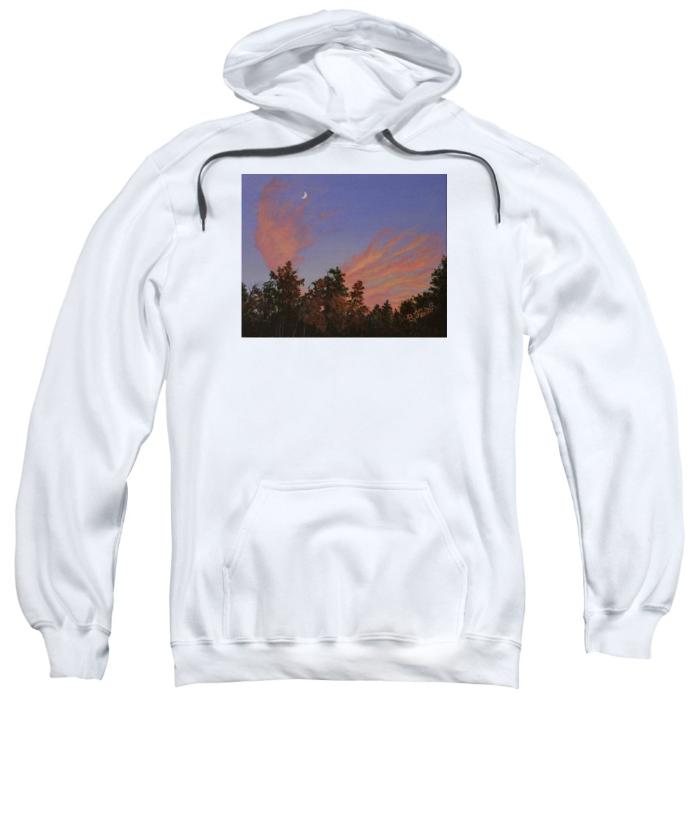 Moonrise Sweatshirt featuring the painting Moonrise Sunset by Brenda Ferro