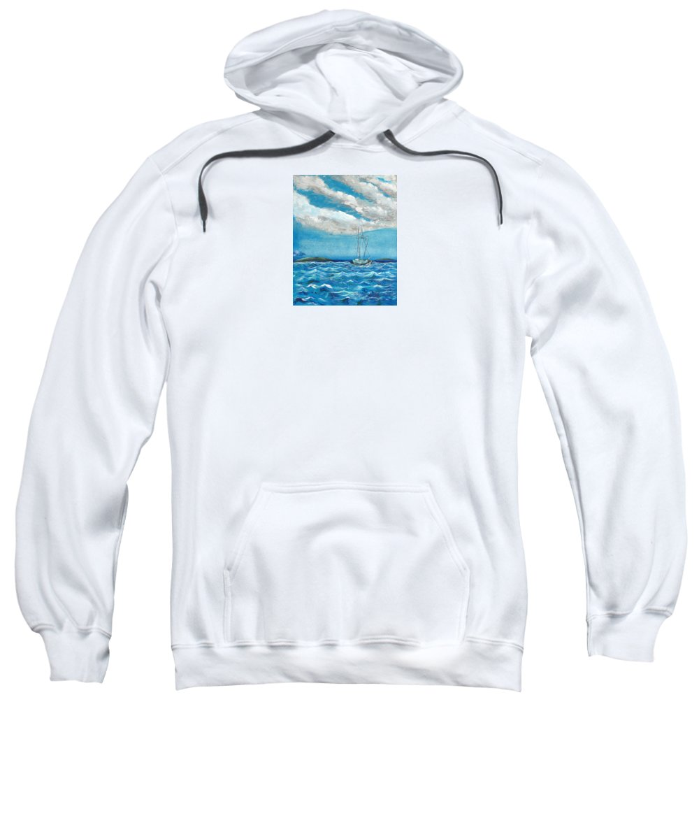 Impressionism Sweatshirt featuring the painting Moored In The Bay by J R Seymour