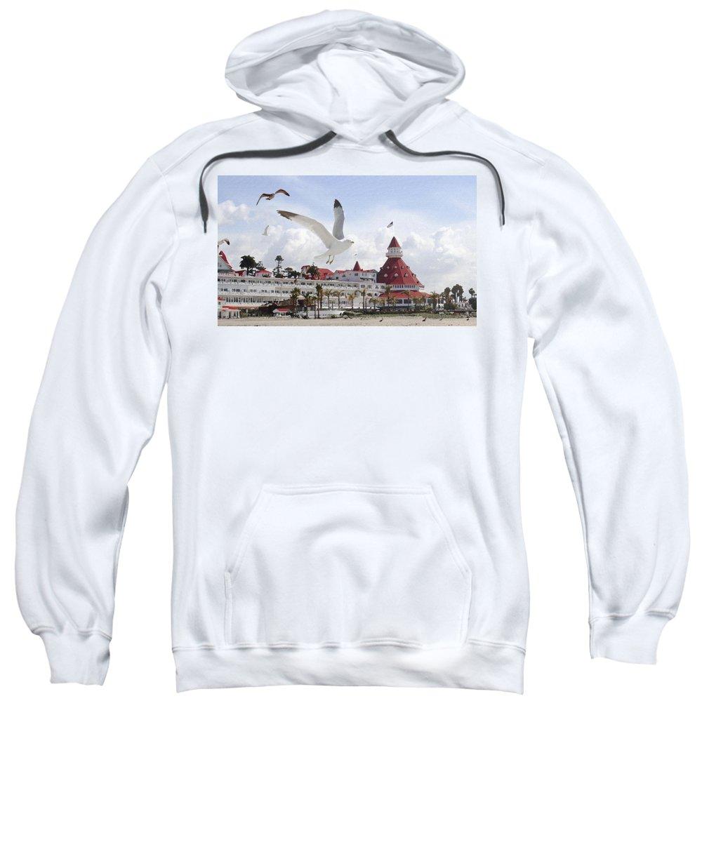 Beach Sweatshirt featuring the photograph Morning Gulls On Coronado by Margie Wildblood