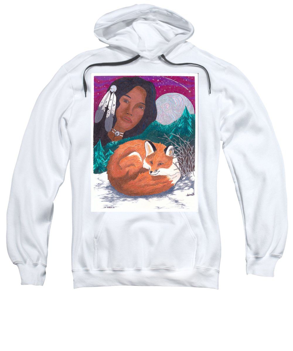 Oglala Lakota Traditional Native American Indian Sweatshirt featuring the mixed media Mother Earth Looking Over Her Children by Lightning Horse Studio