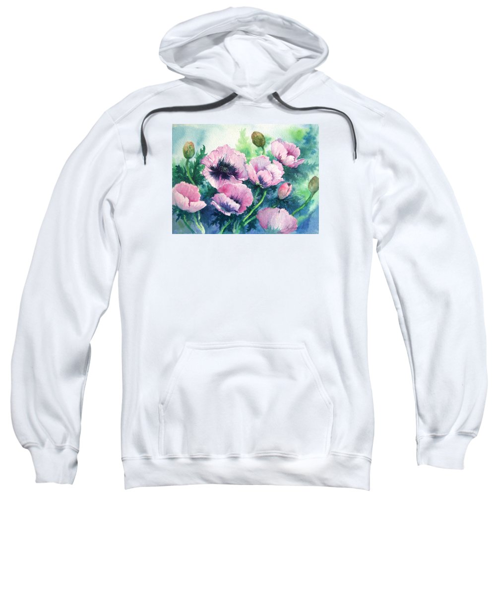 Poppies;floral;flowers;pink;garden; Sweatshirt featuring the painting Mother's Prize Poppies by Lois Mountz