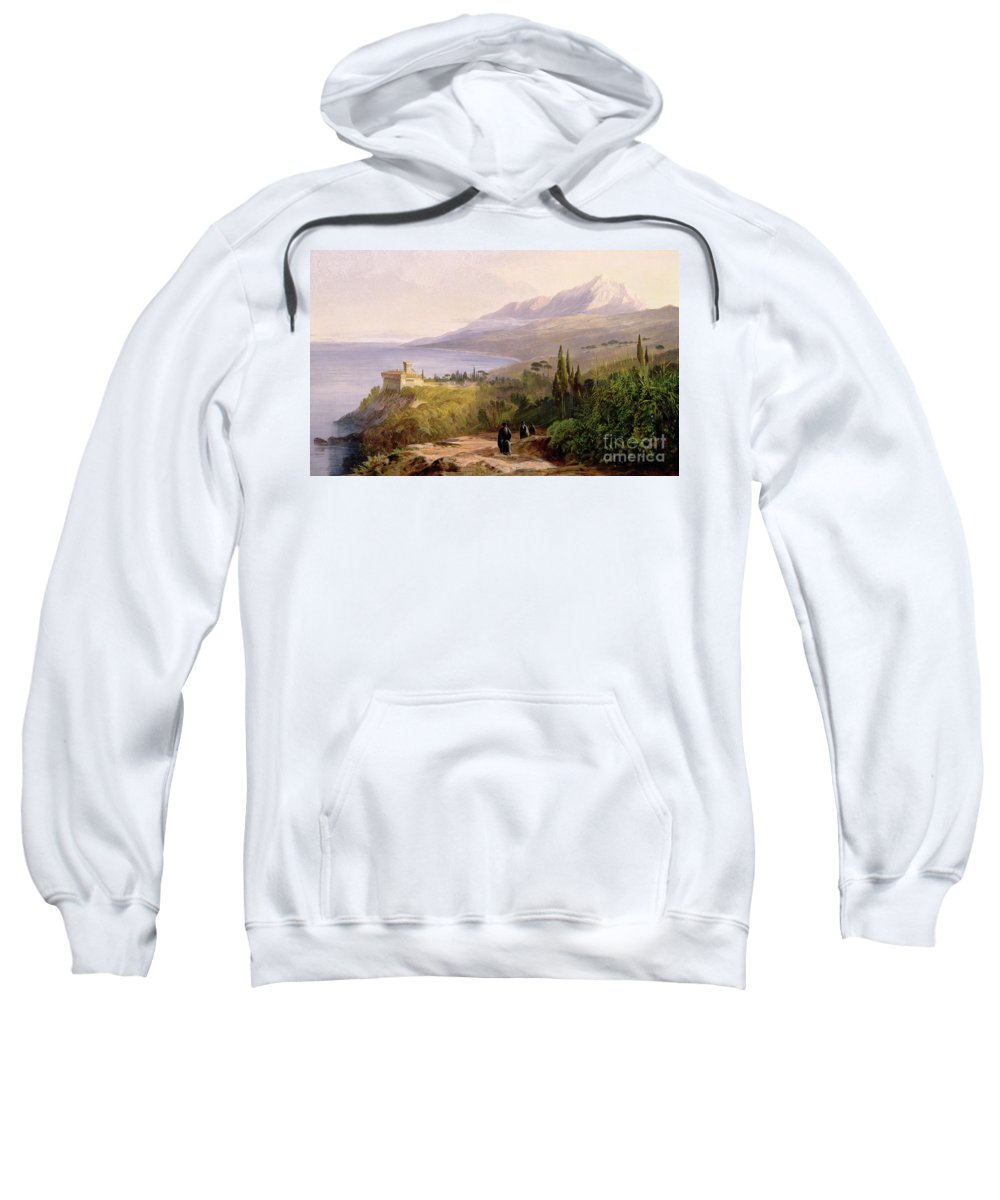 Mount Athos And The Monastery Stavroniketes Sweatshirt featuring the painting Mount Athos And The Monastery Of Stavroniketes by Edward Lear
